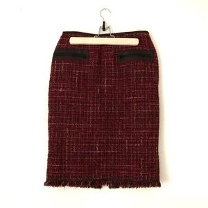 Lafayette 148 Tweed and Leather Pencil Skirt